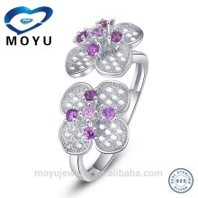 druzy ring pure 925 Silver Double Flower adjustable ring with amethyst