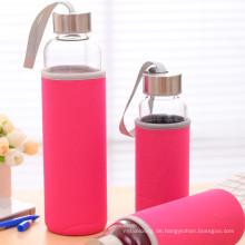 Wasserflasche aus Borosilikatglas mit tragbarer Nylonhülle