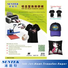 Papel de imprensa de calor Solvent Eco escuro em papel de transferência de calor