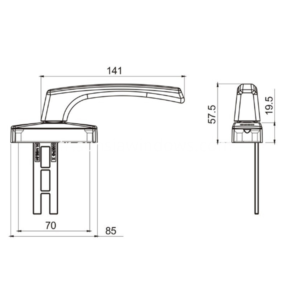 Compact Sturdy and Durable Inward Open Window Fork Handle Drawing