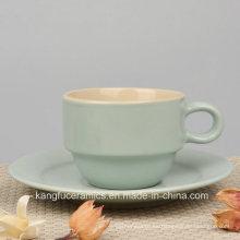 Taza de café esmaltada color colorido del gres