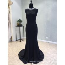 Высокий Воротник Атласная Черный Русалка Вечернее Платье