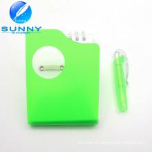 Plastic Cover Memo Pad com Ballpen, espiral de ligação Memo Pad