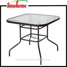 Gehärtetem Glas Esstisch, quadratische Metall Oudoor Tisch