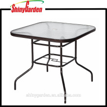 Tempered Glass Dining Table, Square metal Oudoor Table