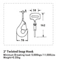 2 Inch Twisted Snap Flat Hook