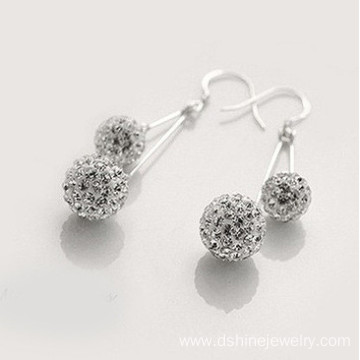 Drop Earrings Silver Shamballa Earring With Shiny Stones