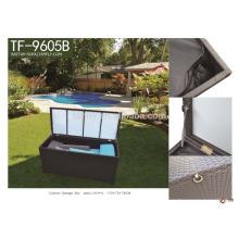 Aluminum frame waterproof outdoor cushion storage box/ rattan cushion storage TF-9605B