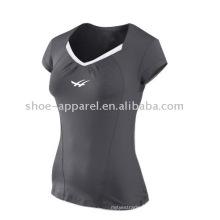 Les derniers t-shirts de tennis v-cou de couleur grise pour des femmes