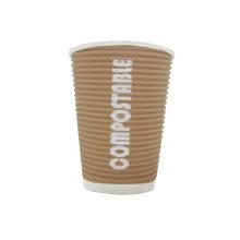 Kraft Ripple Wall Paper Cups Offset Logo, PE Paper Cup