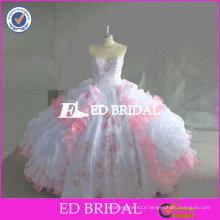 ED Bridal Real Sample Beaded Embroidery Organza Satin Quinceanera Dresses