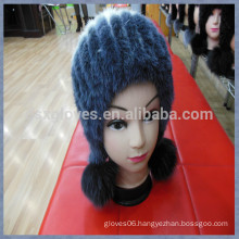 Fashion Lady Mink Fur Cap For Winter With Balls