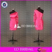ЭД сексуальная свадебное короткое платье на одно плечо с одним рукавом дешевые коктейль Тафта платье для партии 2017