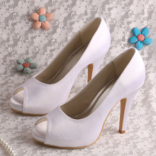 Peep Toe White Satin Shoes para casamento