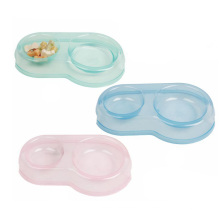 Transparent Colorful  with  Two Mangers Dog Drinking Double Plastic Dog Bowl