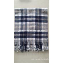 Cashmere & Wool Blended xadrez lenço