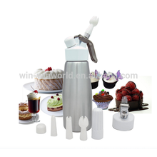 Aluminum Cream Whipper Charger With Metal Top and Three Decorative Nozzles