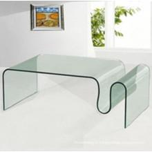Type de verre à courbure courbé / courbé pour table basse