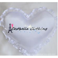 Venda quente coração anel caixa anel travesseiro casamento cetim nupcial anel almofada coração forma