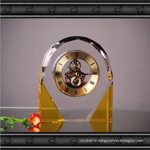 Arch Golden K9 Crystal Glass Clock for Decoration
