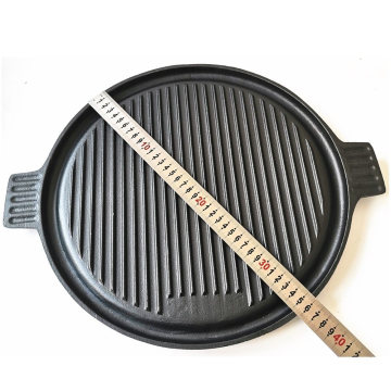 Teppanyaki Reversible BBQ Griddle Cast Iron Round Grill Plate