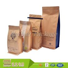 Acceptez l'ordre fait sur commande 500g fond plat alimentaire de qualité en aluminium feuille de chaleur joint vanne papier kraft sacs de café avec cravate en étain