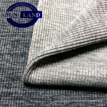 Tejido de poliéster Spandex 2x2 costilla para ropa de tela