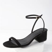 человек сделал подошва кожаная обувь для девочек с обернутой блок каблук Пип-toe сандалии