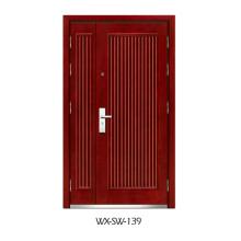 Hochwertige niedrige Preis-Stahl-hölzerne Tür (WX-SW-139)
