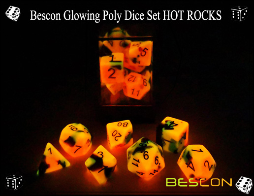 Bescon Glowing Poly Dice Set HOT ROCKS-5