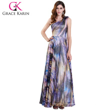 Grace Karin One Shoulder Chiffon Ball Gown Printed Prom Party Dress 2017 GK000116-1