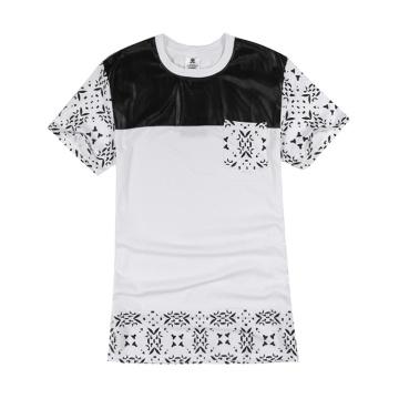 Leather Patch Cashew Nut Pattern Lengthen T Shirt