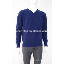 100% кашемир темно-синий цвет V-образным вырезом пуловер свитер для мужчин