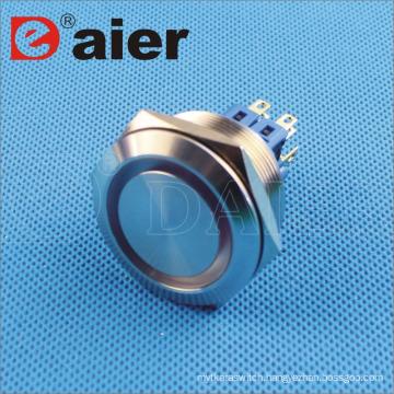 Flat Shape Ring Illuminated IP67 flashlight 30mm metal push button
