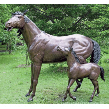 Bronze Mare & Foal Horse Statue