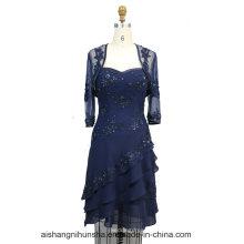 Женщины Шифон Бисероплетение Длинное Вечернее Пром Платье
