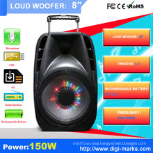 OEM Plastic Trolley Outdoor Speaker with Battery, Bluetooth MP3 Speaker