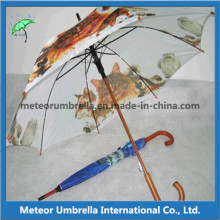 Wooden Automatic Printed Promotional Gift Rain Umbrellas