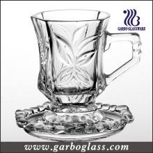 Ensemble de tasses et de soucoupes en verre de sculpture brillant en cristal de haute qualité (TZ-GB09D1605SYC)