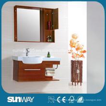 Armário de espelho de banheiro de madeira sólida de design moderno