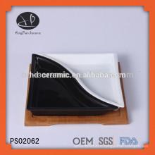 Ensemble de plaques de cuisine en céramique avec base en bambou, plaque en céramique divisée, assiette à deux parties
