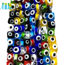 Charme europeu claro cristal plana colorido vidro turk eye beads