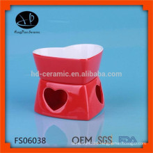 Mini stoneware cheese chocolate fondue set,promotion color glazed fondue set