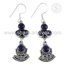 Bijoux traditionnels indiens 925 Sterling Silver Lapis Earrings Fabricant