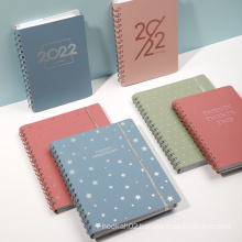 2022 Custom Logo Office School Weekly Diary Notebook Journal Pu Leather Softcover Spiral Planner