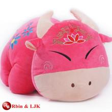 Juguetes de felpa color de rosa promocionales de encargo de la vaca