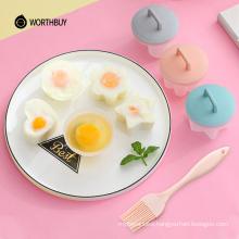 4 Pcs/Set Cute Egg Boiler Plastic Poacher Set Kitchen  Cooker Tools Egg Mold Form With Lid Brush Pancake Maker