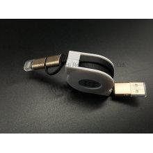 Dos en un cable USB retráctil con concha metálica para iPhone y Samsung