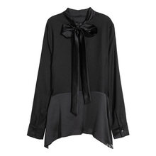 Long Sleeves with Buttons at Cuffs Woven Blouse with Ties