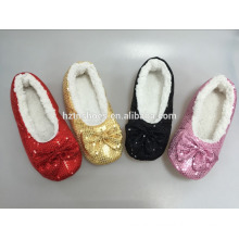 Portable quiet bedroom shoes blingbling fashion indoor slipper sequin upper women home shoes